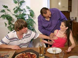 Guy watches his lovely young wife get it on with a young pizza delivery guy