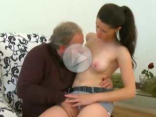 FLASH !!! Good old guy with a bushy grey beard gets it on with the lovely Simona, and she fucking loves it. She simply can't get enough of his little old cock pumping into her hot little snatch!