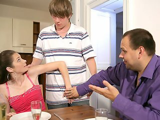 VIDEO !!! Crazy young wife cuckolds her older fat husband with a young handsome pizza boy