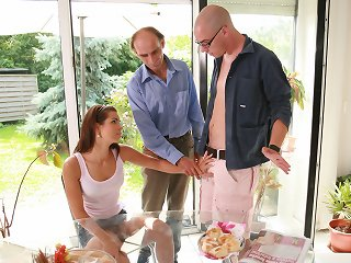 Lovely young wife rides a stranger on older husbands watch in his country house
